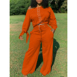 Plus Size Lace Up Tops Wide Leg Pants 2 Piece Sets TK-6123