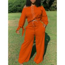 Plus Size Lace Up Tops Wide Leg Pants 2 Piece Sets TK-6123