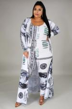 Plus Size 5XL Dollar Print Jumpsuits+Long Cloak 2 Piece Sets BMF-035