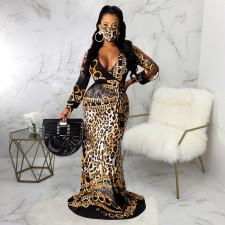 Leopard Print V Neck Long Sleeve Maxi Dress With Mask SMR-9741