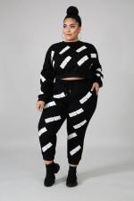 Plus Size 5XL Letter Print Sweatshirt 2 Piece Sets BMF-030