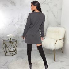 Casual Ruched Long Sleeve Sweatshirt Dress SMR-9769