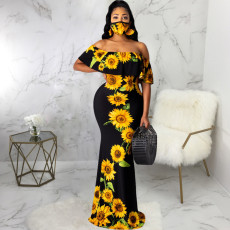 Sexy Printed Slash Neck Maxi Dress With Mask SMR-9720