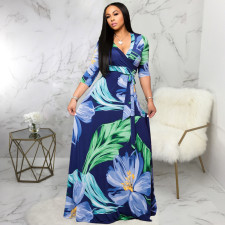 Plus Size V Neck Printed Maxi Dress SMR-9719