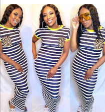 Fashion Casual Leopard Pocket Striped Short Sleeve Long Dress MSF-8005