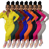 Solid Color Zipper Fashion Casual Sports Two Piece Set HM-6345-1