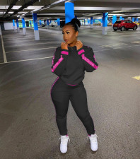 Sweatshirts Patchwork Letter Casual Sports Two Piece Set NYF-8012