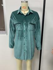 Casual Velvet Long Sleeve Buttons Shirt Dress LSD-9012