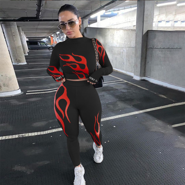 Sexy Print Long Sleeve Tops And Fitness Legging Pant Sports Two Piece Set NYF-8017