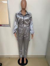 Casual Zipper Long Sleeve Two Piece Pants Set LSD-8793