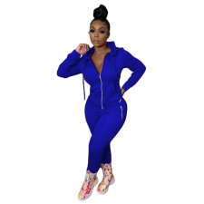 Solid Color Zipper Fashion Casual Sports Two Piece Set HM-6345-1