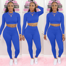 Fashion Solid Color Long Sleeve Sports Two Piece Set NYF-8011
