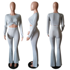 Solid Long Sleeve Tops Flared Pants Two Piece Sets LSD-9003