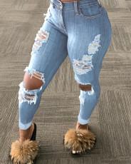 Plus Size 4XL Denim Ripped Hole Skinny Jeans LSD-8775