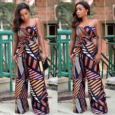 Geometric Print Off Shoulder Wide Leg Tube Jumpsuits RUF-1689