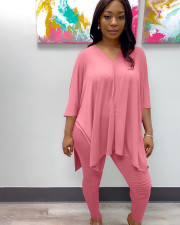 Plus Size 5XL Solid Loose Tops And Pants Set WAF-7080