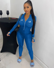 Casual Rib Embroidery Letter Zipper Tight Jumpsuits BGN-112