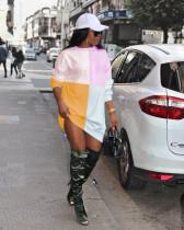 Contrast Color Long Sleeve Casual Sweatshirt Dress RUF-8703