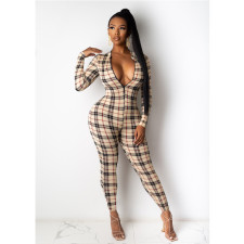 Sexy Plaid Print Zipper Skinny Jumpsuits ML-7377