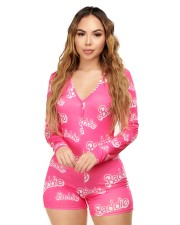Casual Printed  V Neck Long Sleeve Rompers CL-6079
