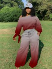 Gradient Long Sleeve Wide Leg Pants Two Piece Sets YWF-1828