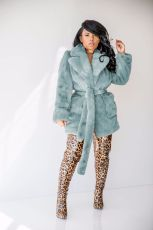 Faux Fur Lapel Solid Long Sleeve Winter Coats MOS-1007-1