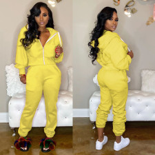 Fashion Sports Solid Color Hooded Two Piece Set MOS-1015