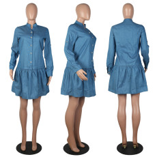 Fashion Solid Color Long Sleeve Denim Shirt Dress MOS-1107