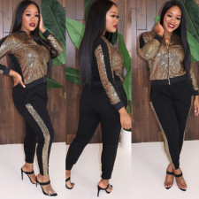 Plus Size Sequins Spliced Sporty Long Sleeve Zipper Jacket And Pants Two Piece Set MOS-981