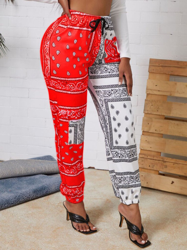 Casual Contrast Color Printed Long Pants MYF-666