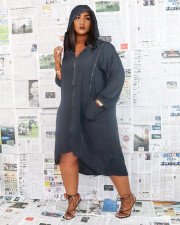 Plus Size Casual Loose Hooded Zipper Midi Dress NM-8321