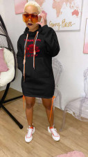 Casual Hooded Pocket Drawstring Hoodies Dress FST-7138