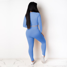 Solid Long Sleeve Tight Two Piece Pants Set TE-4118
