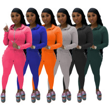 Casual Hooded Zipper Two Piece Pants Set IV-8135