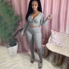 Solid Sexy Long Sleeve Two Piece Pants Set MGF-8033