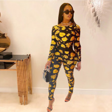 Casual Printed Long Sleeve Two Piece Pants Set JCF-7033