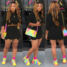 Solid Sweater And Mini Skirt Two Pieces Suit MOS-933-1
