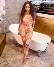 New Sexy Printed Long Sleeve Two Piece Set YIM-148