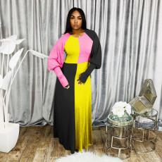 Plus Size Fashion Stitching Contrast Long Dress MTY-6321-1