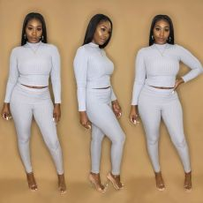 Plus Size Solid Color knitting Long Sleeve Two Piece Pants Set MTY-M6326