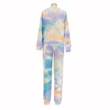 Casual Sports Tie Dye Sweatshirt Two Piece Sets AIL-126