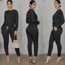 Solid Color Long Sleeve Top Ruched Pant Sports Two Piece Set TE-4073-1
