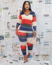 Plus Size Striped Multicolor Two Piece Pants Set MTY-6297