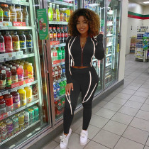 Fashion Casual Long Sleeve Fluorescent Casual Sports Two Piece Set LS-0318