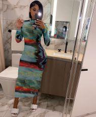 Sexy Print Long Sleeve Zipper Slim Long Dress JH-191