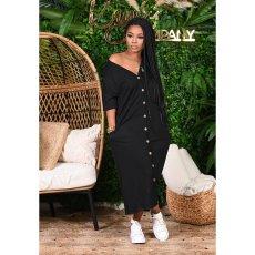 Casual V Neck Short Sleeve Maxi Dress CHY-1255