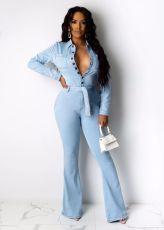 Fashion Casual Long Sleeve Denim Jumpsuit With Belt WZ-8333