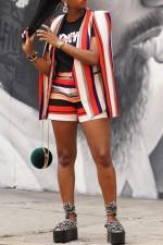 Multicolor Striped Cloak Sleeve Blazer Coat LSD-9026