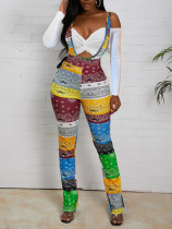 Sexy Strap Patchwork Print Jumpsuit NY-2047