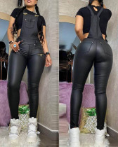 Fashion Sexy PU Suspender Slim Fit Jumpsuit NY-2044